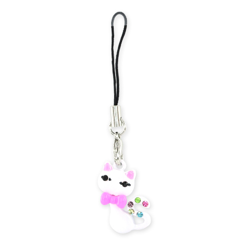 Bow Tied Cat Cellphone Charm,Strap w, Multi Colored Gems - White