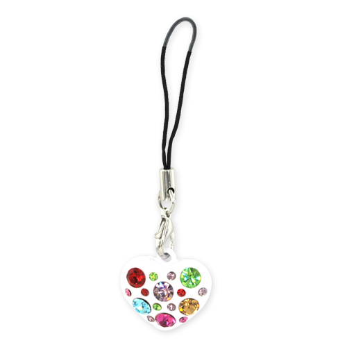 Heart Cellphone Charm/Strap w/ Multi Colored Embedded Gems - White