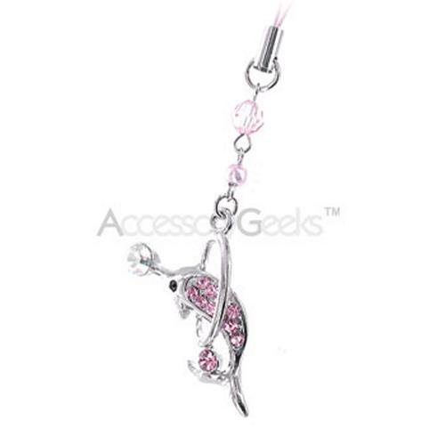Cubic Dolphin iPod & Cell Phone Charm - Baby pink