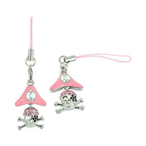 Baby Pink Skull & Crossbones w/ Black Eye Patch & Pirate Hat Cell Phone Charm