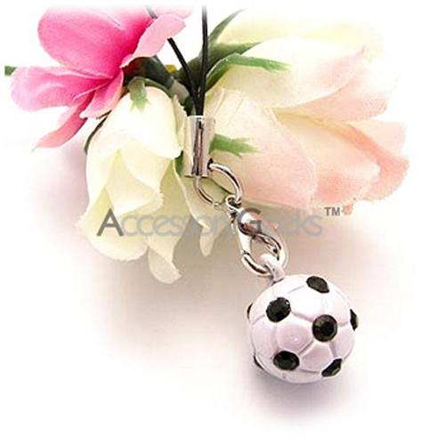Black/ White Soccer Ball Cell Phone Charm/ Strap