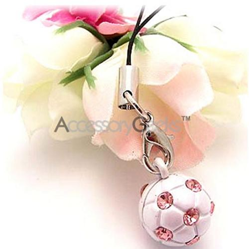 Soccer Ball w/ Baby Pink Stones Cell Phone Charm/ Strap