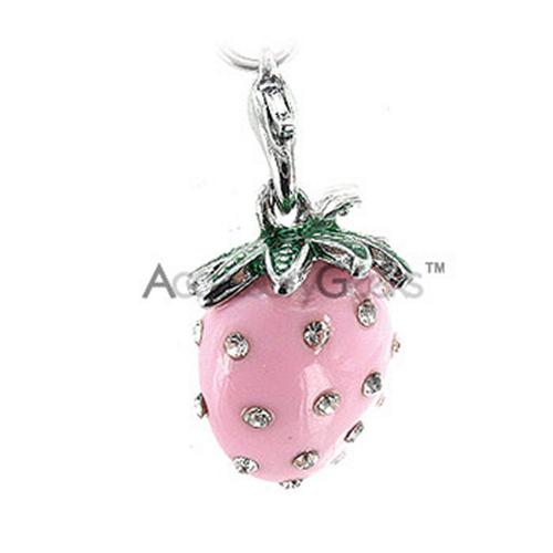 Plump Strawberry with Cubic Stones cell phone charm/strap - pink