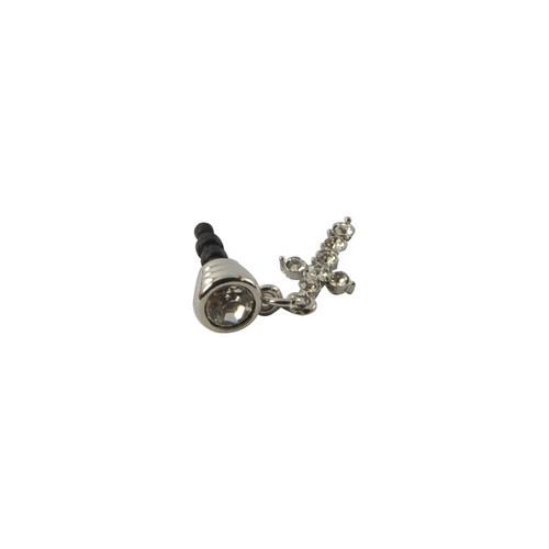 Universal Silver Bling Cross 3.5mm Headphone Jack Stopple Charm