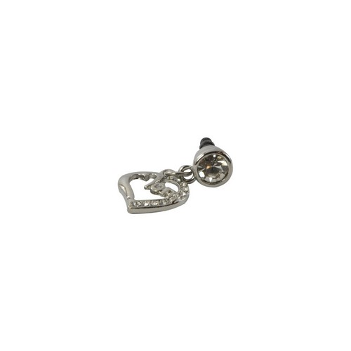 Universal Silver Bling Mom Heart 3.5mm Headphone Jack Stopple Charm