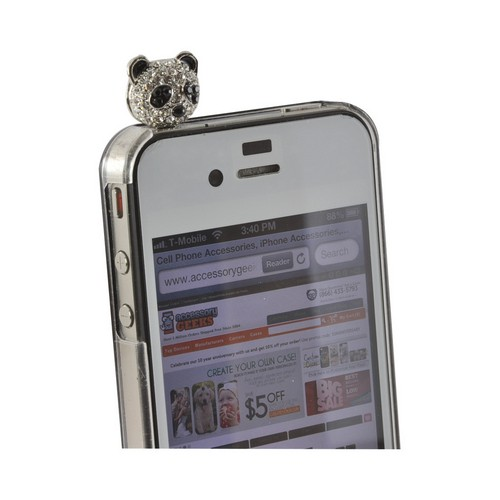 Universal Silver/ Black Bling Panda 3.5mm Headphone Jack Stopple Charm