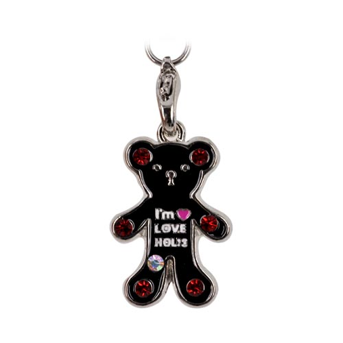 Teddy Bear Cell Phone Charm Strap Black w/ Red Stones