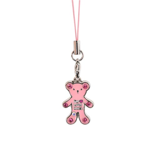 Teddy Bear Cell Phone Charm Strap Pink w/ Pink Stones