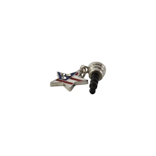 USA Star w/ Bling 3.5mm Headphone Jack Stopple Charm