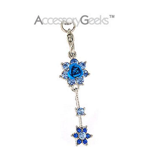 2 Roses with Cubic Stones Charm / Strap - blue