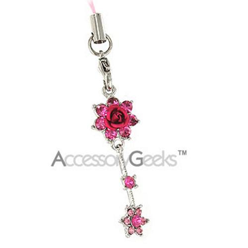 2 Roses with Cubic Stones Charm / Strap - Hot Pink