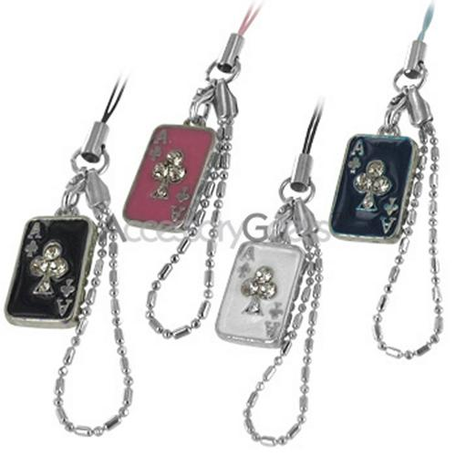 Ace of Clubs w/ Cubic Stones Charms/Straps - dark blue