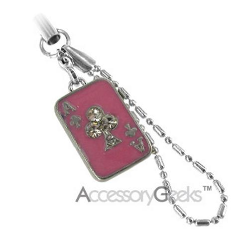 Ace of Clubs w/ Cubic Stones Charms/Straps - pink