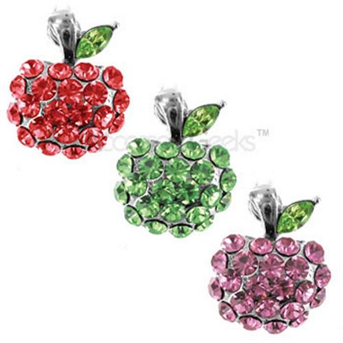 Cubic Stone Apple w/ Green Leaf Cell Phone Charm - pink