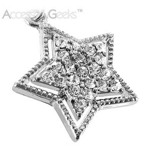 Sparkling Star with Border Cubic stone charm/strap - clear