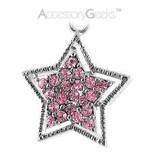 Sparkling Star with Border Cubic stone charm/strap - pink