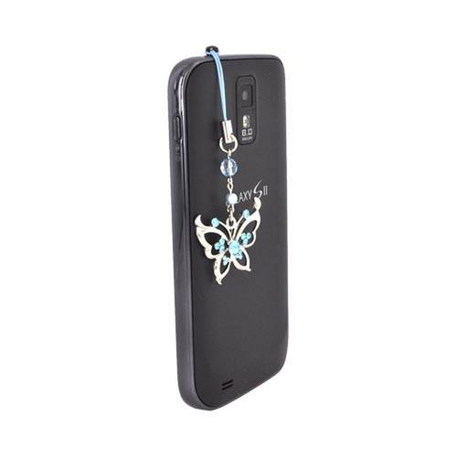 Butterfly w/ Diamond on Center Cubic Stone Charm / Strap - blue