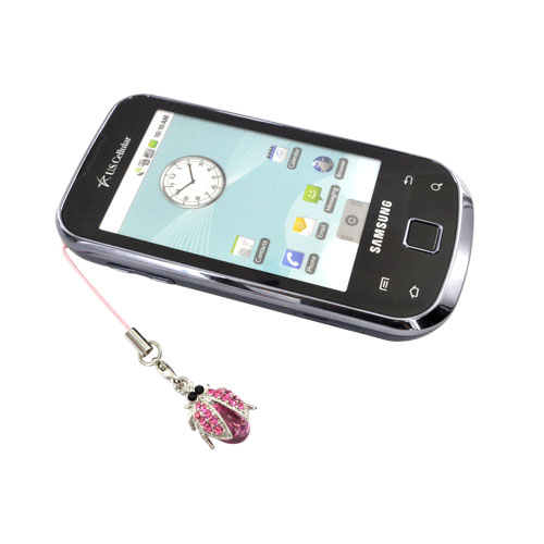 Ball with Clear Cubic Stones on Bug Charm / Strap - pink