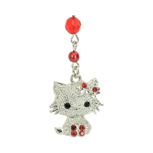 Cubic Stone Cat Charm w, Strap - Red