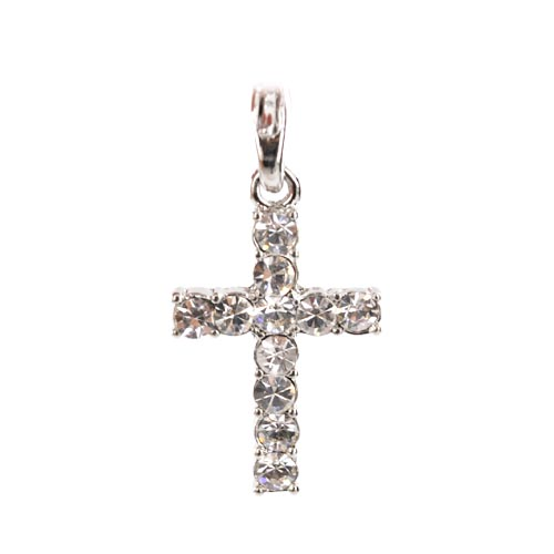 Cross Cubic Stone Cellphone Charm/Strap - Clear