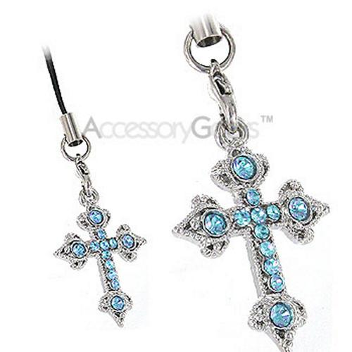 Cross Cubic Stone Charm/Strap - blue