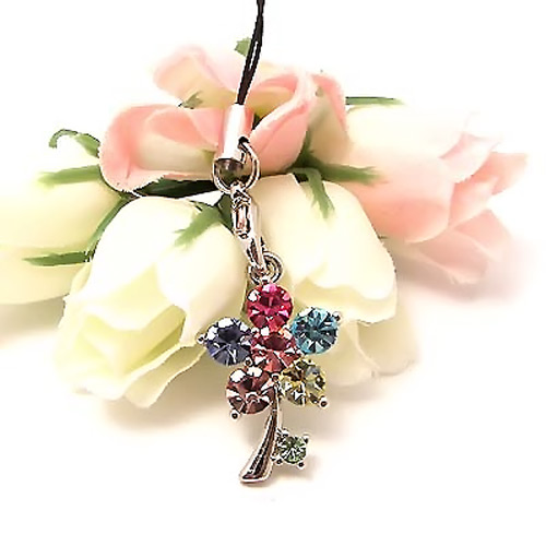 Tiny Dandelion Flower Cubic Stone Cell Phone Charm / Strap - Multi-Color
