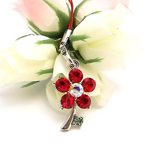 Tiny Dandelion Flower Cubic Stone Cell Phone Charm / Strap - Red