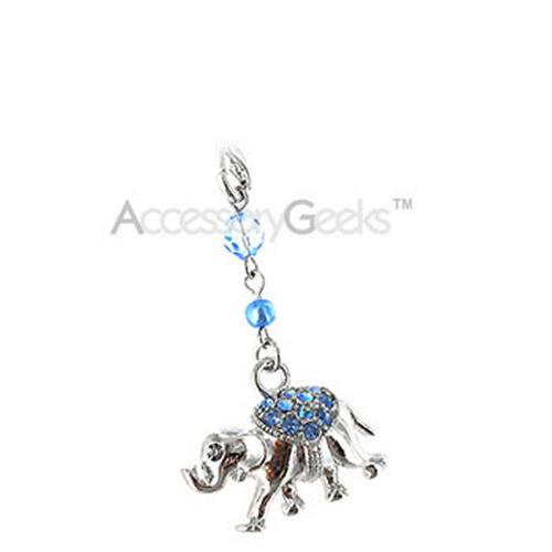 Sparkling Cubic Stone Elephant Cell Phone Charm - blue