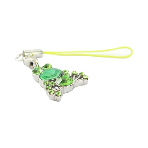 Cubic Stone Frog Charm w, Strap - Green
