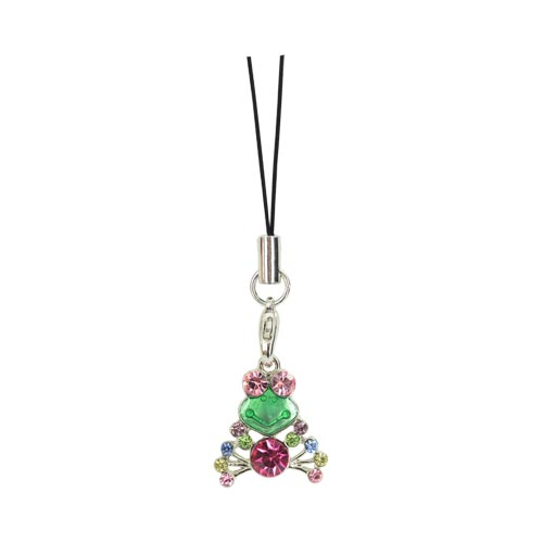 Cubic Stone Frog Charm w, Strap - Multi-Color