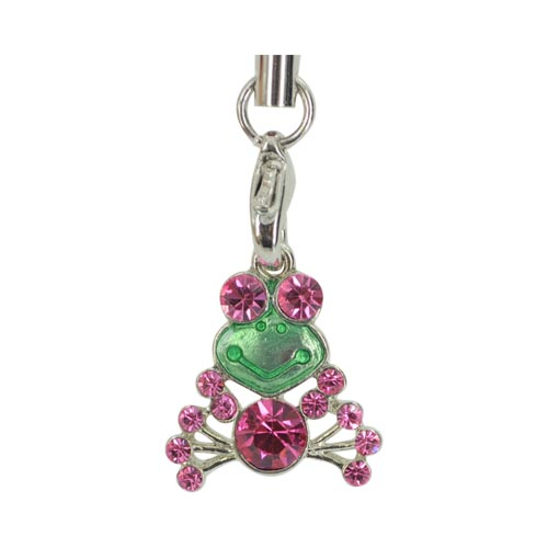 Cubic Stone Frog Charm w, Strap - Pink