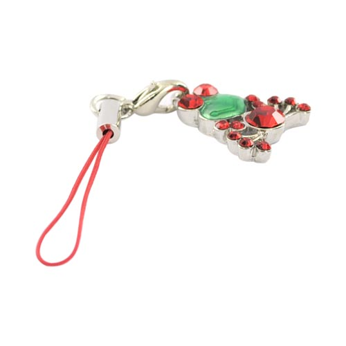 Cubic Stone Frog Charm w, Strap - Red
