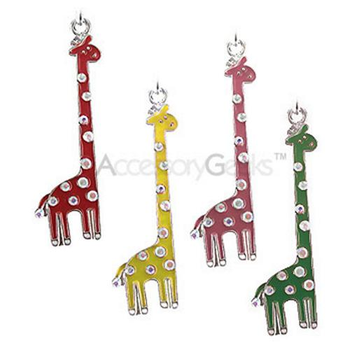 Cubic Stones Cute Giraffe Cell Phone Charm - pink