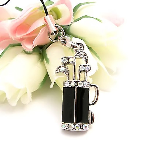 Golf Bag w, Clubs Cubic Stone Cell Phone Charm , Strap - Black