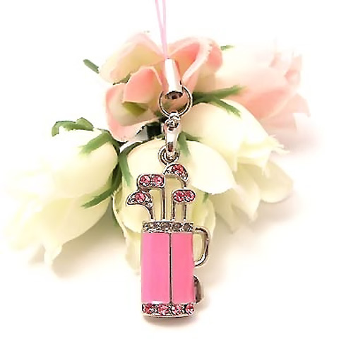Golf Bag w, Clubs Cubic Stone Cell Phone Charm , Strap - Baby Pink