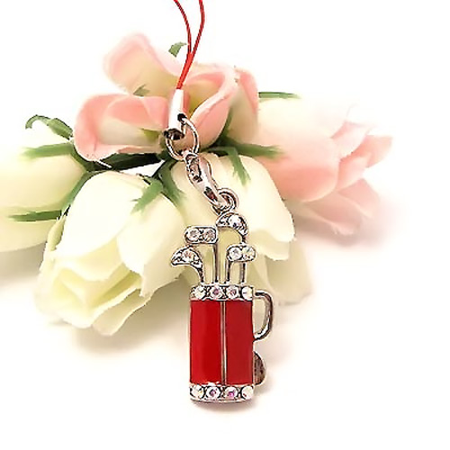 Golf Bag w, Clubs Cubic Stone Cell Phone Charm , Strap - Red
