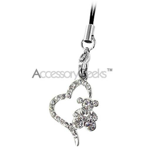 Teddy w/ Heart Cell Phone Charm/Strap - Clear