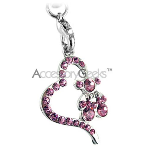 Teddy w/ Heart Cell Phone Charm/Strap - Baby Pink