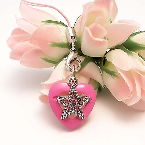 Cubic Stone Diamonds of Star on a Heart Cell Phone Charm/Strap - Baby Pink