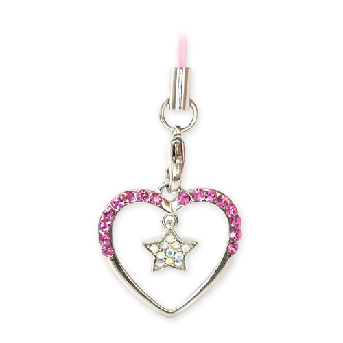 Heart Around Dangle Star Cubic Stoned Cellphone Charm/Strap - Pink