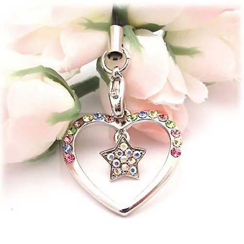 Heart and Star Cubic Stoned Cellphone Charm/Strap - Multi Colored