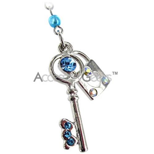 Key & Lock w/ Cubic Stones Cell Phone Charm - Blue