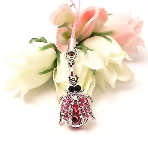 Sparkling Lady Bug Wings Cubic Stone Cell Phone Charm , Strap - Baby Pink w, Pink Gems