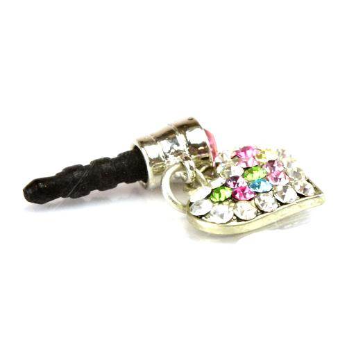 Mini Heart Cubic Stoned Cell Phone Charm/Strap - Multi-Color