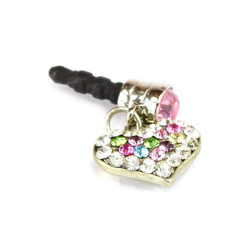 Mini Heart Cubic Stoned Cell Phone Charm/Strap - Pink