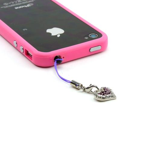Mini Heart Cubic Stoned Cell Phone Charm/Strap - Purple