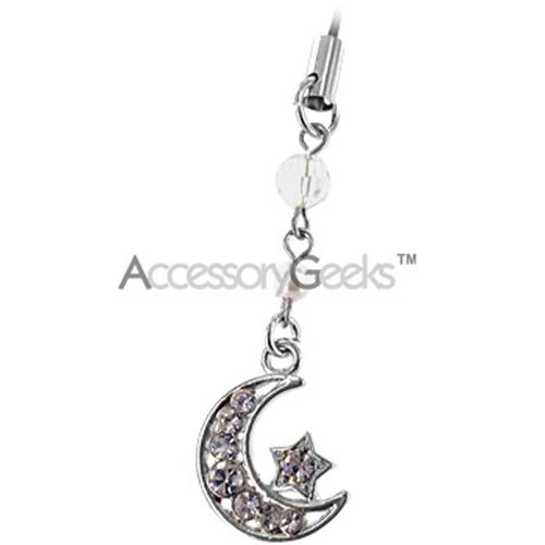 Moon & Star Cell Phone Charm/Strap - Clear