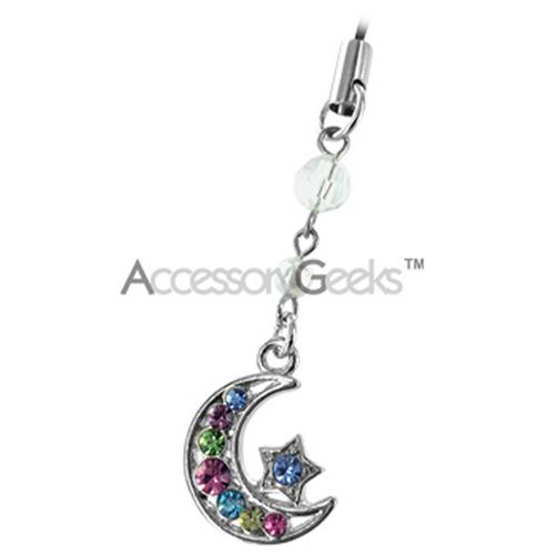 Moon & Star Cell Phone Charm/Strap - Multi-Color
