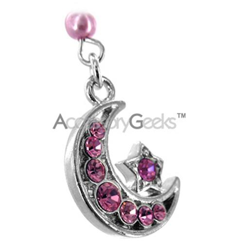 Moon & Star Cell Phone Charm/Strap - Pink