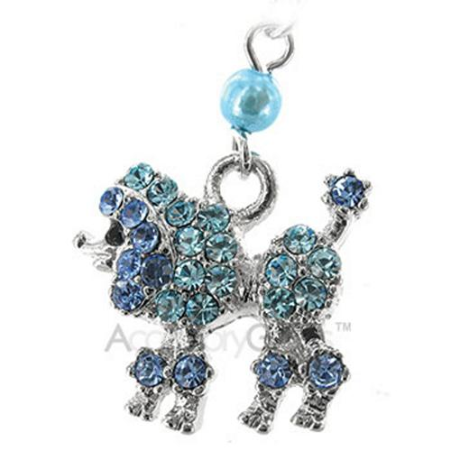 Poodle Cubic Stone Cell Phone Charm/Strap - blue